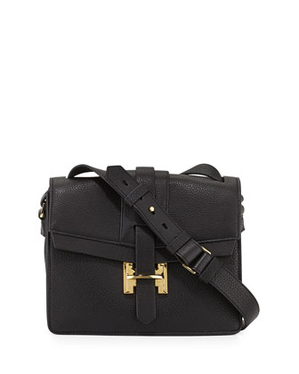 Medium Flap Leather Shoulder Bag, Black