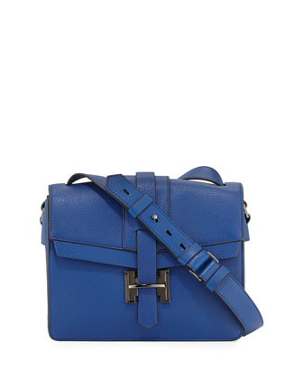 Medium Flap Leather Shoulder Bag, Cobalt
