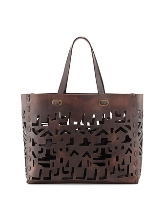 Small Laser-Cut Leather Tote Bag, Brown