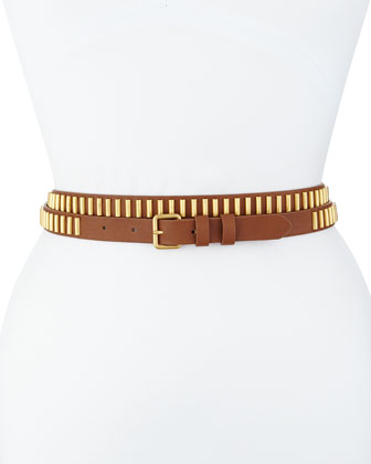 Long and Winding Road Belt, Cognac/Gold