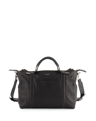 Aston Medium Leather Satchel, Black