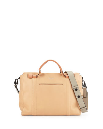 Aston Leather Satchel Bag, Nougat Multi