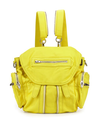 Mini Marti Washed Lambskin Backpack, Pale Citron