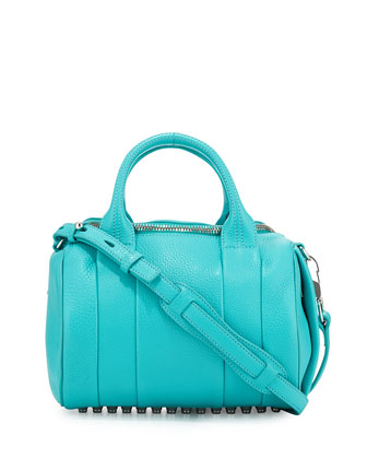 Rocco Pebbled Leather Satchel Bag, Lagoon