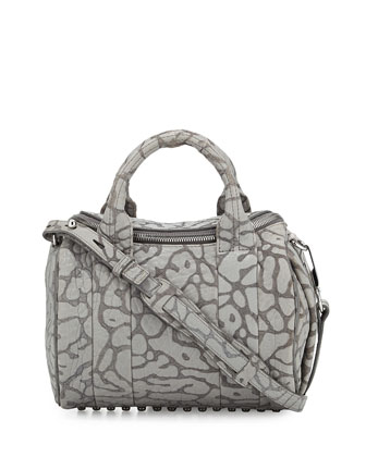 Rockie Laser-Cut Pebbled Leather Satchel Bag, Light Concrete