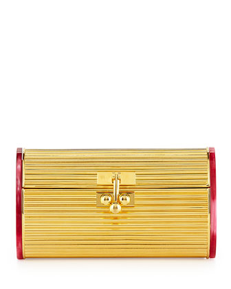 Dani Metal Blacklit Clutch Bag, Gold/Red