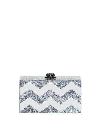 Jean Acrylic Chevron Clutch Bag, Silver
