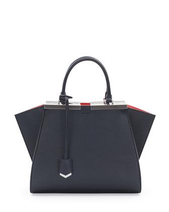 Personalized Trois-Jour Petit Bicolor Tote Bag, Navy/Orange