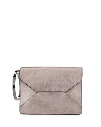 Metallic Bangle Clutch Bag, Lead Gray