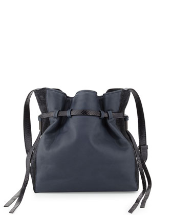 Lazar Napa/Flocked Suede/Snake Bucket Bag, Navy
