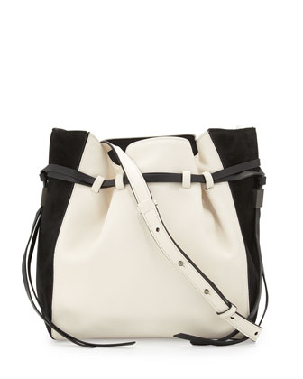 Lazar Leather Bucket Bag, Ivory/Black