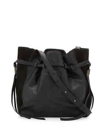 Lazar Leather Bucket Bag, Black