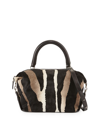 Martin Zebra-Print Cube Satchel Bag