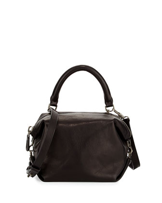 Martin Leather Cube Mini Satchel Bag, Black