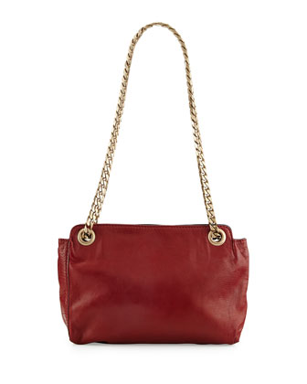 Paco Napa Leather Shoulder Bag, Carnelian