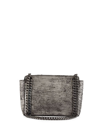 Paco Lambskin Shoulder Bag, Gunmetal Hollywood