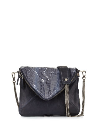 Slash Mini Lambskin and Snakeskin Bag, Navy