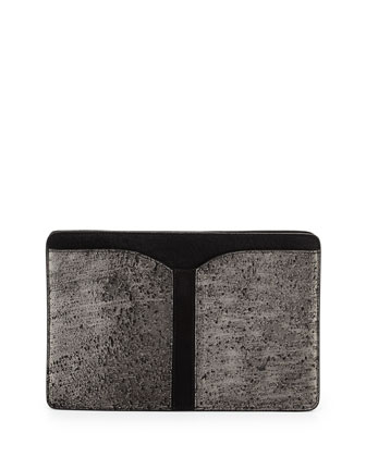 Samuel Calf Hair Clutch Bag, Gunmetal Hollywood