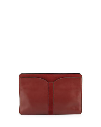 Samuel Leather Clutch Bag, Carnelian