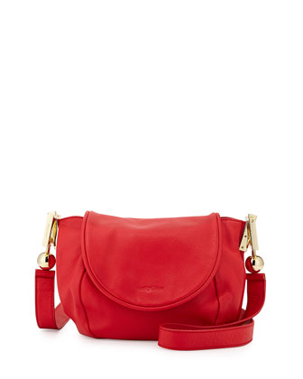 Lena Vachetta Leather Crossbody Bag, Flamboyant Red