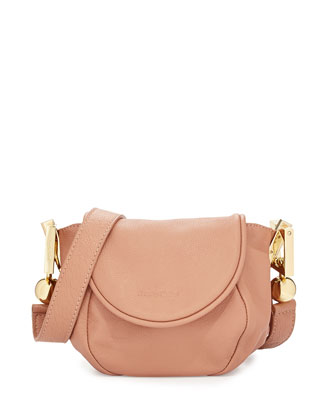 Lena Leather Crossbody Bag, Pink Beige