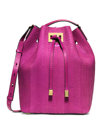 Miranda Large Sueded Snakeskin Drawstring Messenger Bag, Fuchsia