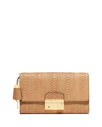 Gia Sueded Snake Clutch Bag with Lock, Peanut
