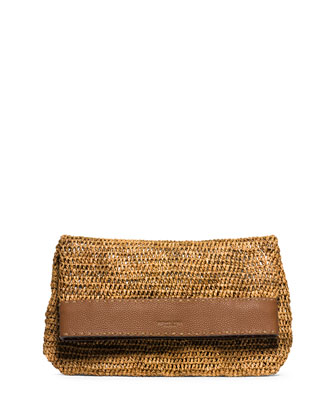 Santorini Medium Raffia Clutch Bag, Luggage