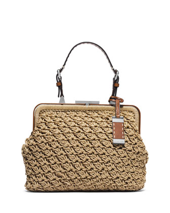 Millicent Medium Macrame Frame Tote Bag, Luggage