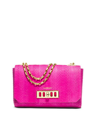 Vivian Shoulder Flap Bag, Fuchsia