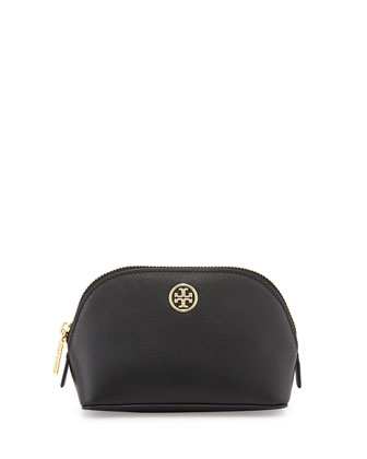 Robinson Small Saffiano Leather Makeup Bag, Black