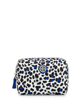 Bridgitte Leopard Print Cosmetic Bag, Jelly Blue