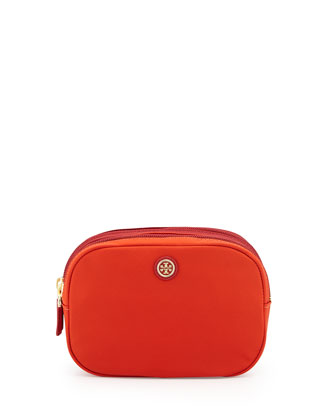 Travel Nylon Double Cosmetic Case, Orange/Red