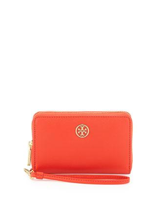 Robinson Saffiano Smart Phone Wristlet Wallet, Poppy Coral