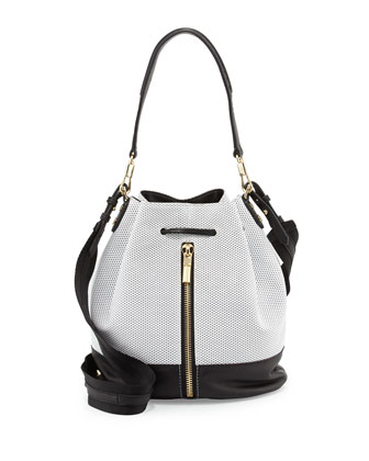 Cynnie Perforated Bucket Bag, White/Black
