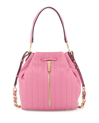 Cynnie Quilted Bucket Bag, Zinnia Pink