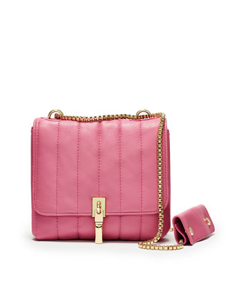 Cynnie Quilted Shoulder Bag, Zinnia Pink