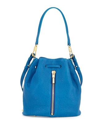 Cynnie Large Grain Mini Bucket Bag, Marina