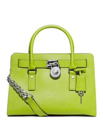 Hamilton Saffiano Satchel Bag, Pear