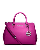 Sutton Medium Saffiano Satchel Bag, Fuchsia
