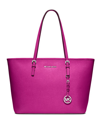 Jet Set Zip-Top Tote Bag, Fuchsia
