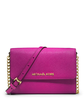 Jet Set Travel Large Crossbody Bag, Fuchsia