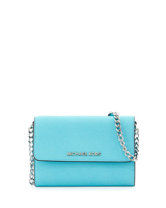 Jet Set Travel Crossbody Phone Bag, Aquamarine