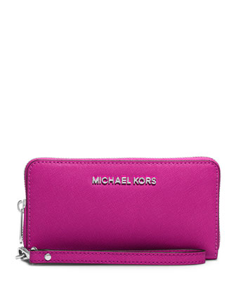 Jet Set Large Multifunction Wallet, Fuchsia