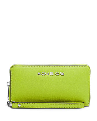 Jet Set Large Multifunction Wallet, Pear
