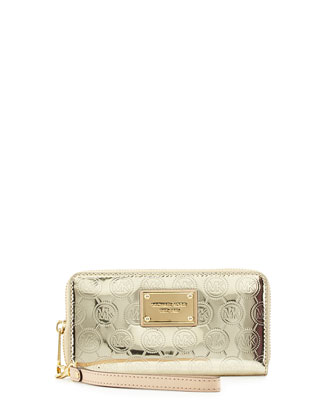 Jet Set Multifunction Phone Wristlet Wallet, Pale Gold