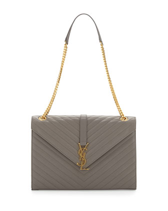 Cassandre Large V-Flap Shoulder Bag, Fog Gray