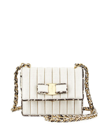Ginny Quilted Snakeskin Crossbody Bag, Bianco