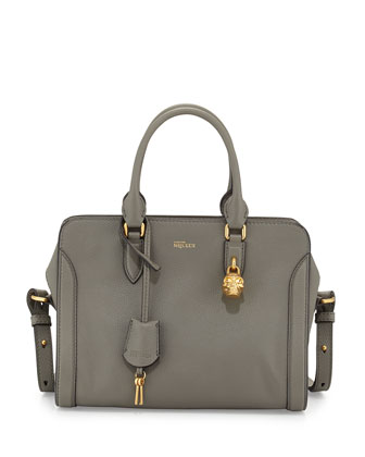 Small Skull Padlock Leather Satchel, Dark Gray