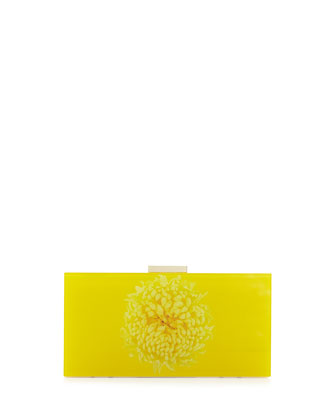 Flower Acrylic Box Clutch Bag, Yellow